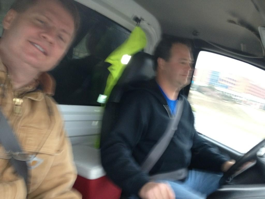 Mayor Burchett and Knox Co Employee Jimmy Eubanks traveling through South Knoxville salting the roads