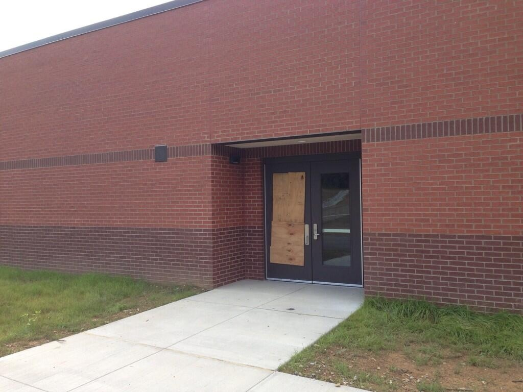 The door at the New Carter Elementary School where 20 of our computers went out with being detected.