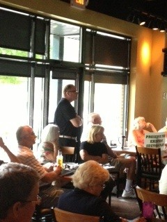 Jim Cornett, Owner of Cazzy's Corner Grill opened up his restaurant for concerned citizens to meet.