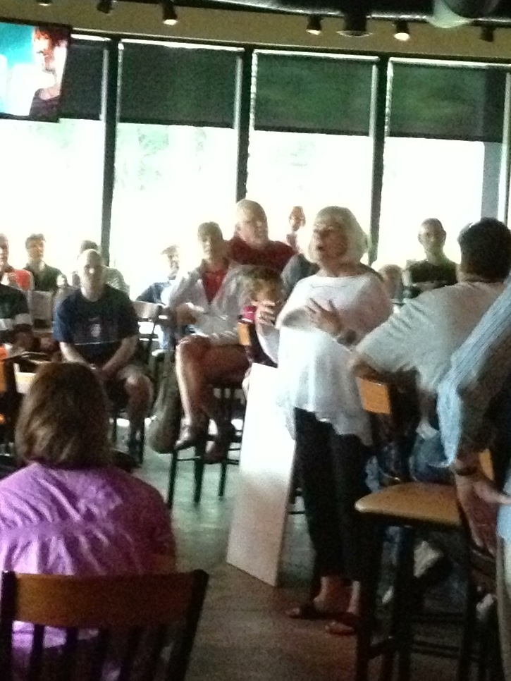 Debby Stevens speaking passionately about the quality of life in Northshore Town Commons