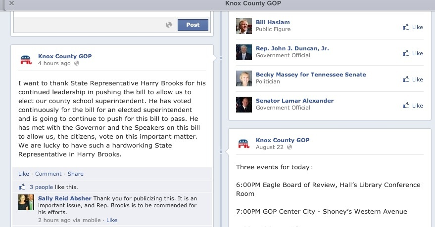 Facebook post thanking Rep. Brooks for his work on Tuesday, when on Thursday she wanted him voted out of office.