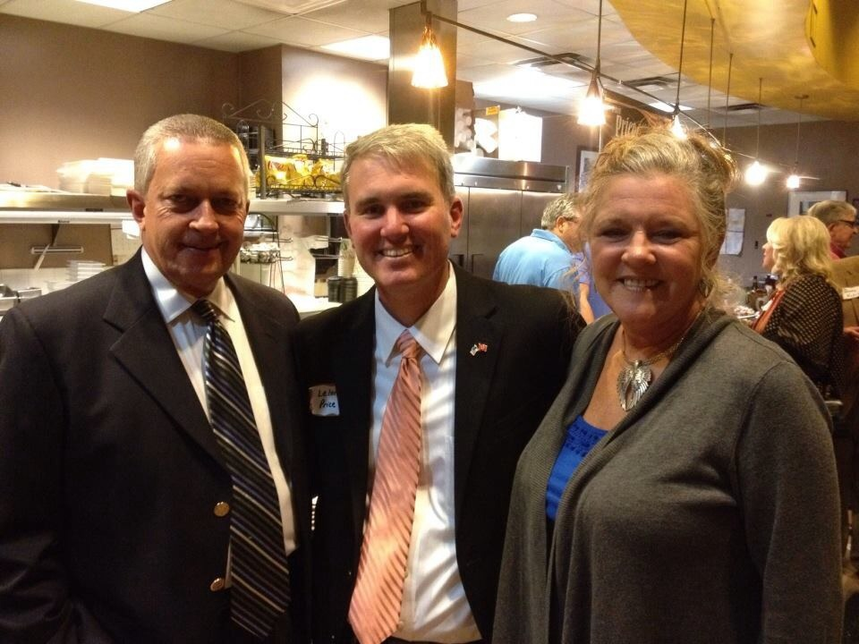 Leland Price with Gary and Denna Christian (source: Leland Price for Judge Facebook page)