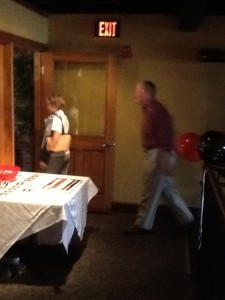(bad picture) Honey Alexander and Senator Alexander walking into the packed room