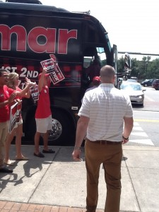 Senator Alexander boards the bus after lunch