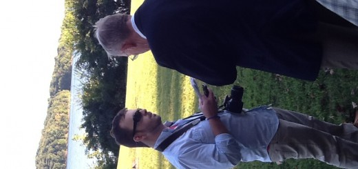 Senator Alexander being interviewed by a member of the local news media
