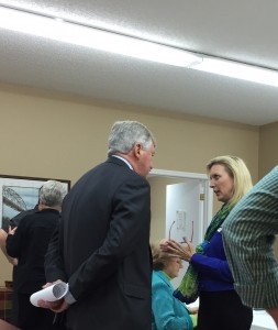 State Sentaor and Loudon County Republican First Vice Chair Mellissa Browder talk before the meeting
