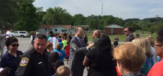 Students, Guests and Visitors Gather Together. Dr. McIntyre greets Mr. Jeff Riddle before the ceremony.
