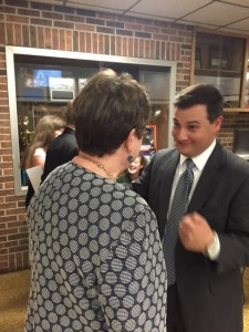 Following the dinner, TN GOP Chairman Ryan Haynes talks with the Blount County GOP Chair.