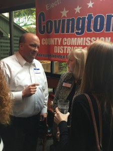 County Commission Chairman Brad Anders talks with Southwest Knox County Resident Tamara Boyer