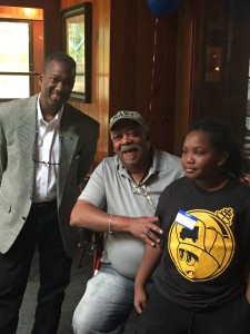 Michael Covington visits with Meet and Greet attendee Chuck Williams and Kari
