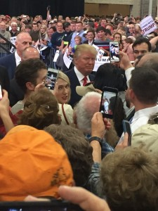 Mr. Trump mingling among the voters