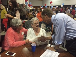 Governor Haslam talking with State Rep. Calfee's mother in law and Rep. Calfee's wife Marilyn (in the Orange)