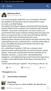 The Facebook Post Announcement that failed to identify Bluegrass Elementary School as her priority for representation.
