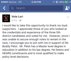 Lori Boudreaux statement of support for Pelot.