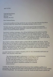 The letter that was posted on Rocky Top Politics.