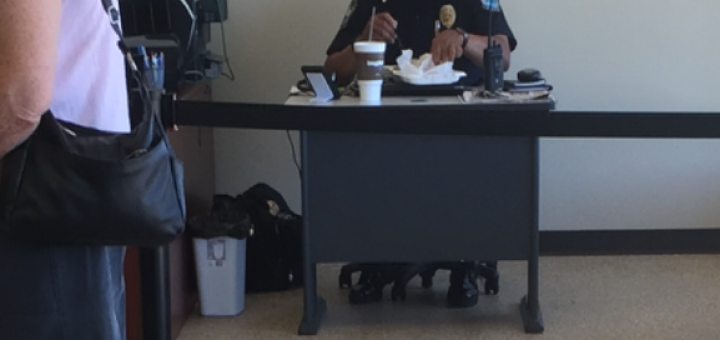 the KPD Officer providing security last week at the Halls Knox County Clerk's Office.