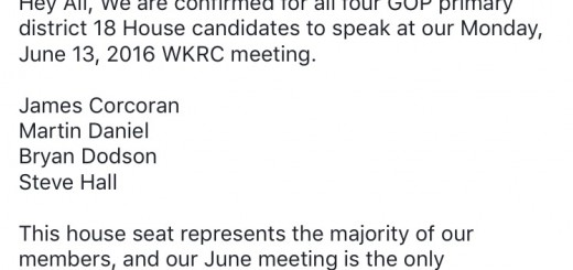 The meeting notice posted on the West Knox Republican Club FB page.