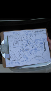 A clipboard pic with the streets and street numbers that they had knocked on one Saturdat