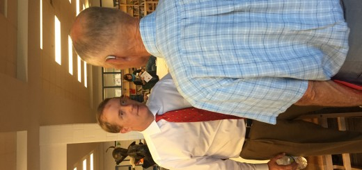 Knox County Fourth District Commissioner Elect Hugh Nystrom talking with Edwin Whiting, a Member of the Town of Farragut MPC