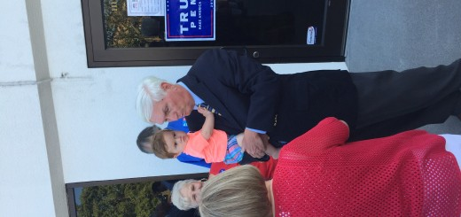 Congressman John Duncan visiting with citizens with the 9th grandchild, Miles