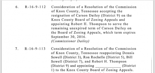 Knox County Commission agenda item for next Monday's workshop, Dailey is putting his Campaign Treasurer on the BZA to replace himself.
