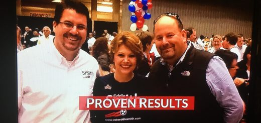 Republican State Rep. Eddie Smith, wife Lana and Conservative blogger Brian Hornback in 2014 when Smith was campaigning and before the voters elected him and rejected the Democrat incumbent.