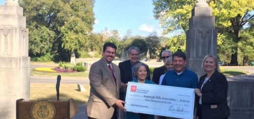 State Rep. Eddie Smith and State Senator Becky Massey presenting a $30,000 grant along with Knoxville Mayor Madeline Rogero to Sequoyah Hills Association.
