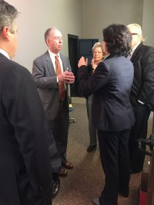 Mancini and two (assumed) democrat observers ask Cliff Rodgers to go back trough and double check all ballots in District 13 have been pulled. Rodgers agreed. Roberto observes conversation.