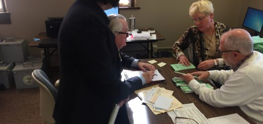 Mancini and an Attorney (assumedly) representing the Democrat Party watch closely the ballot sorting process.