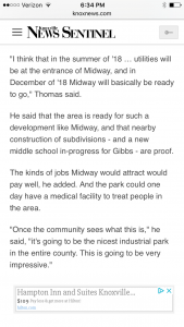 Thomas in Knox News Sentinel saying after spending millions, the East Knox County citizens will like the business park. Gibbs School is a long way from Midway