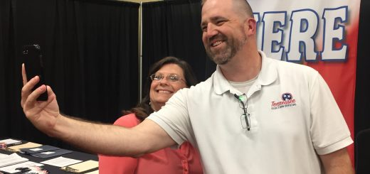 Knox County Election Commmission Staffer and Deputy Administrator of Elections Chris Davis take a selfie at the KCEC booth.