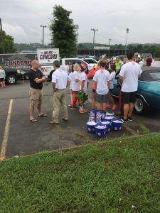 Knox County Circuit Court Clerk Candidate Charles Susano and his volunteers prepare for the parade.