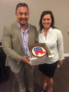 Jonathon Katsirous and Melody Buckles donated a Republican Elephant Red Velvet cake