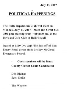 The email announcement from the Halls Republican Club