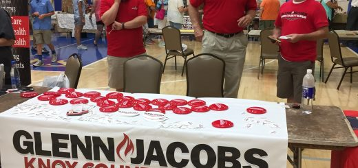 Knox County Mayor candidate Glenn Jacobs and his campaign team had frisbees and stickers. Jacobs posed for many photographs and signed autographs