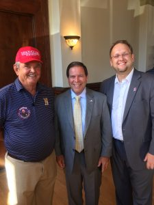 Master of Ceremonies Dan Raper, Spangler and Justin Biggs a 2018 Republican Candidate for Knox County Commission at Large Seat 11