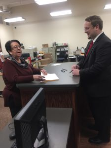 Justin Biggs getting his petition from the Knox County Election Commission