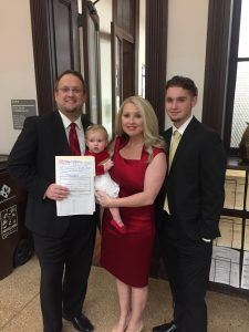 Justin Biggs, his wife Heather, their daughter Lilly and son Caden.