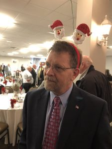 Republican Volunteer Randy Pace with Santa Antlers