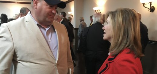 Brian Hornback talking to Congresswoman Marsha Blackburn at the Knox County Lincoln Day Dinner on March 22, 2018