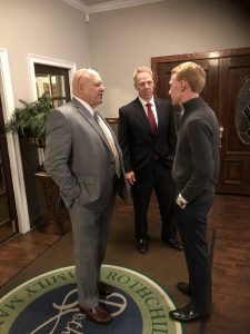 Jefferson County Mayor Alan Palmeiri and County Commissioner Robert Tucker talk with East BlackburnTN Field Rep. Michael Hensley.