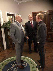 Jefferson County Mayor Alan Palmeiri and County Commissioner Robert Tucker talk with East BlackburnTN Field Rep. Michael Hensley.