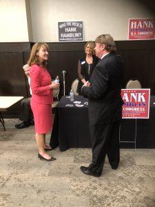 TN Second District Congressional Candidate Hank Hamblin and TN Speaker of the House Beth Harwell talk, as Lora Lee Hamblin (Hank's wife listens)