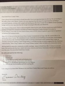 Letter from Carson Dailey professing his like for Bob Thomas