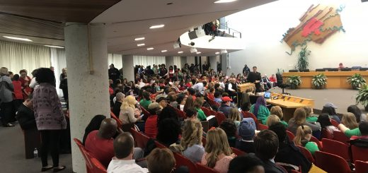 The crowd inside the Large Assembly Room of the City County Building for the Knox County School Board Meeting
