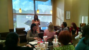 Nickloes speaking to the Republican Women Club