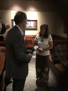David Williams talking with TN Second Congressional candidate Ashley Nickloes