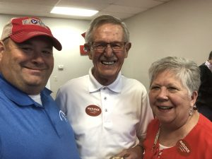 My longtime friends Bill and Judy Vaughan of the Powell community and I. Politics always allows me to reconnect with friends.