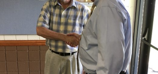 Randy Pace is greeted by Tim Hutchison, Republican candidate for TN State House District 89