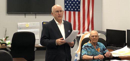 Senator Dr. Briggs updating the club